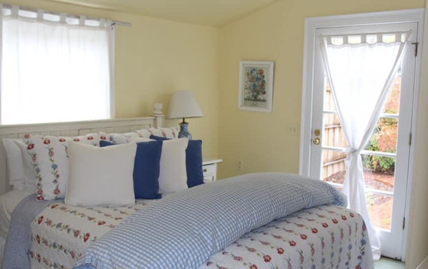 The bedroom in Cottage 3 at the Hope and Glory Inn