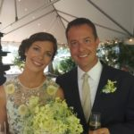 A happy couple at their reception after a Virginia wedding on the Chesapeake Bay