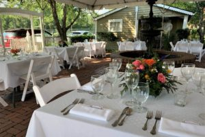 Tables set up for a wedding reception in Virginia